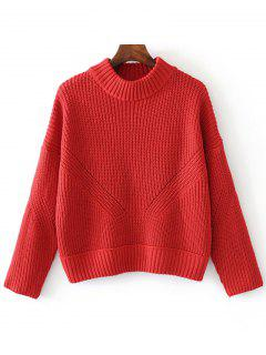 Sheer Mock Neck Pullover Sweater - Red