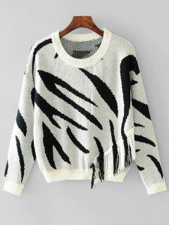 Jacquard Tassels Pullover Sweater - White And Black