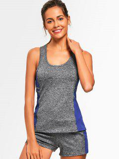 Racerback Heathered Top With Shorts Gym Suit - Blue