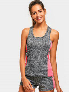 Racerback Heathered Top With Shorts Gym Suit - Pink