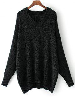 V Neck Pullover Oversized Sweater - Black S