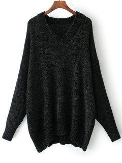 Suéter Con Cuello En V De Gran Tamaño - Negro S