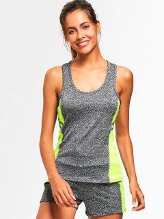 Racerback Heathered Top With Shorts Gym Suit - Neon Green