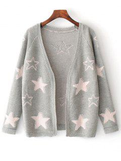 Open Front Star Jacquard Cardigan - Light Gray