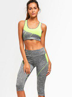 Color Block Heathered Sports Bra With Capri Pants - Neon Green