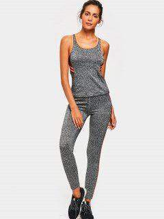 Sporty Back Strappy Heathered Top With Pants - Orange