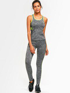 Sporty Back Strappy Heathered Top With Pants - Lemon Green