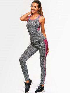 Sporty Back Strappy Heathered Top With Pants - Pink