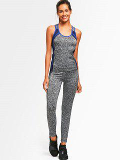 Active Heathered Racerback Top With Pants - Blue