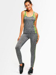 Active Heathered Racerback Top With Pants - Neon Green