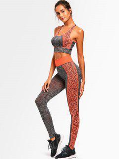 Color Block Heathered Racerback Gym Suit - Orange