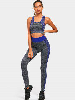 Color Block Heathered Racerback Gym Suit - Blue