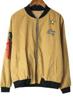 Star Patched Zip Up Bomber Jacket - Khaki