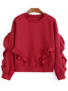 Oversized Ruffles Sweatshirt - Red M