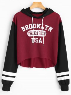 Letter Graphic Contrast High Low Hoodie - Deep Red S