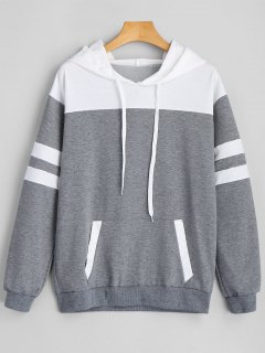 Striped Drawstring Hoodie With Front Pocket - Gray M