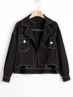 Open Front High Low Denim Jacket - Black Xl