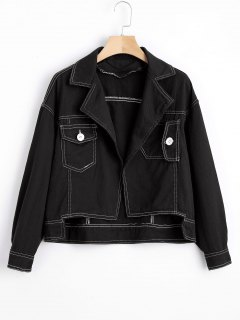 Open Front High Low Denim Jacket - Black L