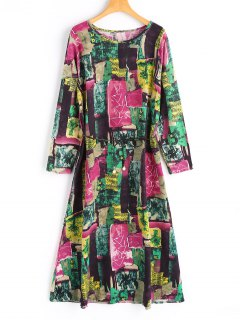 Belted Long Sleeve Graffiti Maxi Dress - Multicolor L