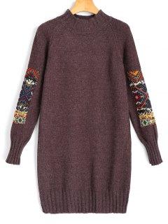 Langarm Jacquard Pullover Minikleid - Braun