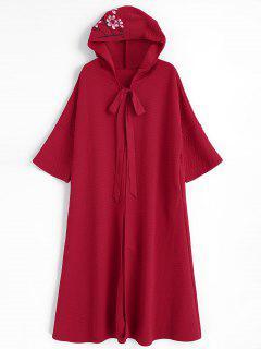 Manteau à Capuchon Floral Avec Poches Latérales - Rouge