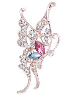 Rhinestone Faux Crystal Butterfly Brooch