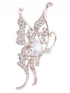 Rhinestone Faux Crystal Butterfly Brooch - White