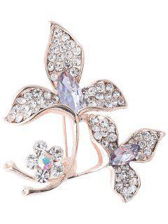 Rhinestone Faux Gem Floral Broche Sparkly - Pourpre