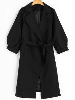 Lapel Belted Coat With Pockets - Black M