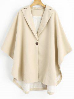 One Button Lapel Cape Coat - Light Apricot