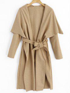 Shawl Collar Belted Coat - Camel Xl