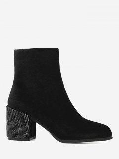 Side Zip Rhinestone Chunky Heel Ankle Boots - Black 38