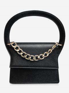 Chain Faux Leather Handbag With Strap - Black