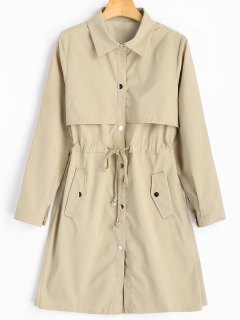 Snap Button Drawstring Waist Plain Trench Coat - Khaki L