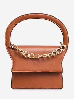 Chain Faux Leather Handbag With Strap - Brown