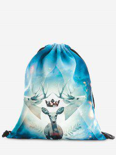 Print Christmas Drawstring Backpack - Light Blue