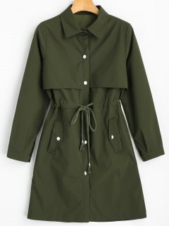 Snap Button Drawstring Waist Plain Trench Coat - Army Green M