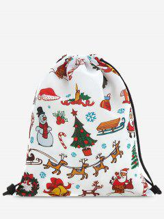 Print Christmas Drawstring Backpack - Red