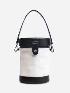Contrasting Color Cylinder Shaped Crossbody Bag - Black
