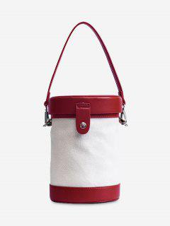 Contrasting Color Cylinder Shaped Crossbody Bag - Red
