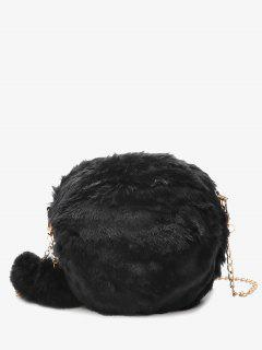 Chain Faux Fur Pompom Crossbody Bag - Black
