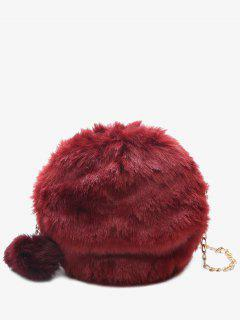 Chain Faux Fur Pompom Crossbody Bag - Red