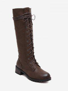 Lace Up Side Zip Mid-calf Boots - Brown 36