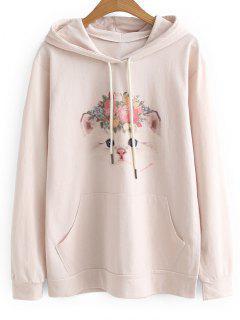Pocket Drawstring Cat Floral Hoodie - Pinkbeige