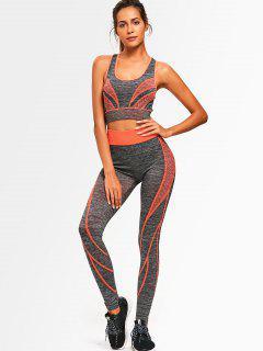 Two Tone Heathered Racerback Gym Suit - Orange