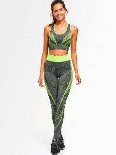 Two Tone Heathered Racerback Gym Suit - Neon Green