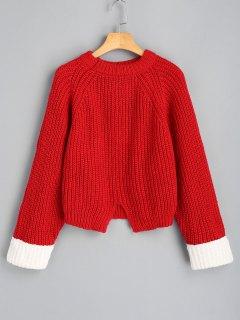 Übergröße Zweifarbiger Pullover Mit Schlitz  - Rot