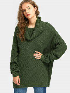 Tunic Cowl Neck Oversized Sweater - Green