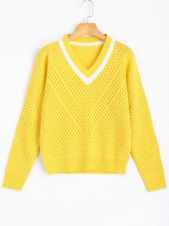 Sheer Contrasting V Neck Pullover Sweater - Yellow