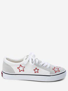 Embroidery Canvas Stars Skate Shoes - White 36